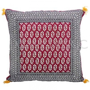 Maroon Color with Black Border Block Print Cotton Cushion Cover
