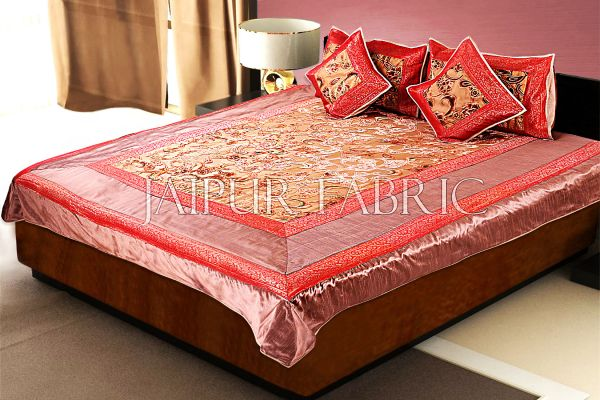 Copper Base With Red Golden Patchwork Cotton Satin Double Bed Sheet