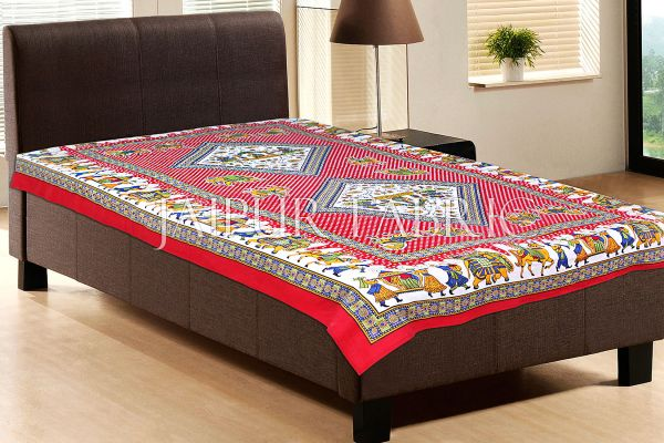 Red Base Jaipur doli design with elephant Print Single Bedsheet