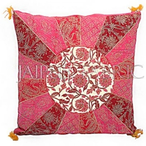 Peach Color Rangoli Print Cotton Cushion Cover