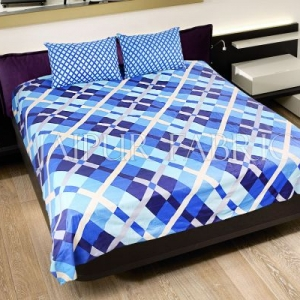 Bice Color Blue Square Print Double Bed Sheet