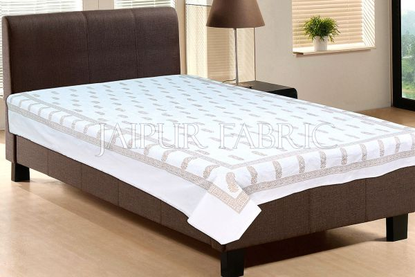 White base With Golden Mango Print Single cotton Bed sheeet