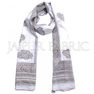 White Base Golden and Black Rajasthani Handmade Print Cotton Scarf