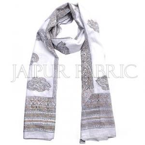 White Base Golden and Black Rajasthani Handmade Print Cotton Scarf