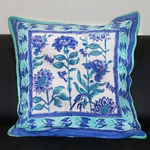 Blue and White Block printed Cotton Cushion Cover