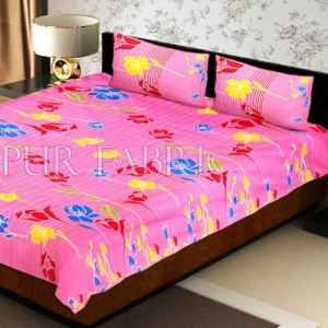 Pink Base Lottos Floral Print Double Bed Sheet