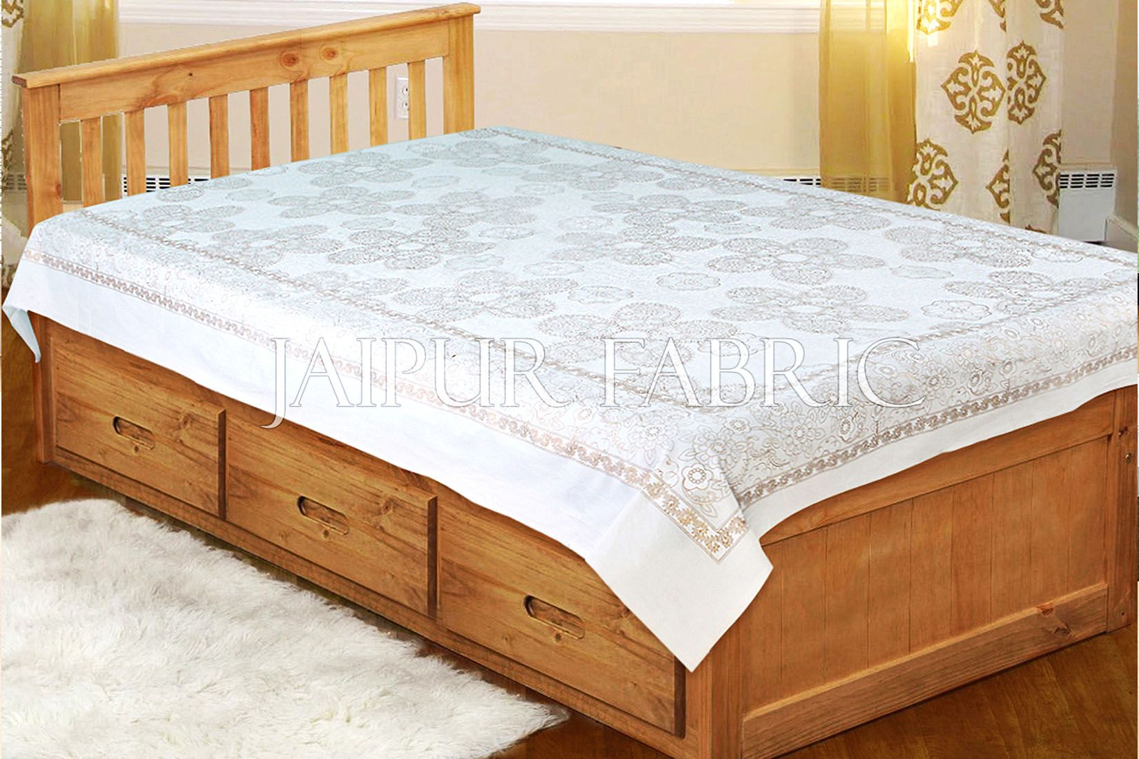 White base With Golden Rajasthani Floral Print Single cotton Bed sheeet