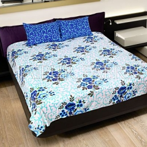 Blue Leaf Print Cotton Double Bed Sheet