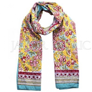 Bice Border Beige Base Floral Print Cotton Scarf