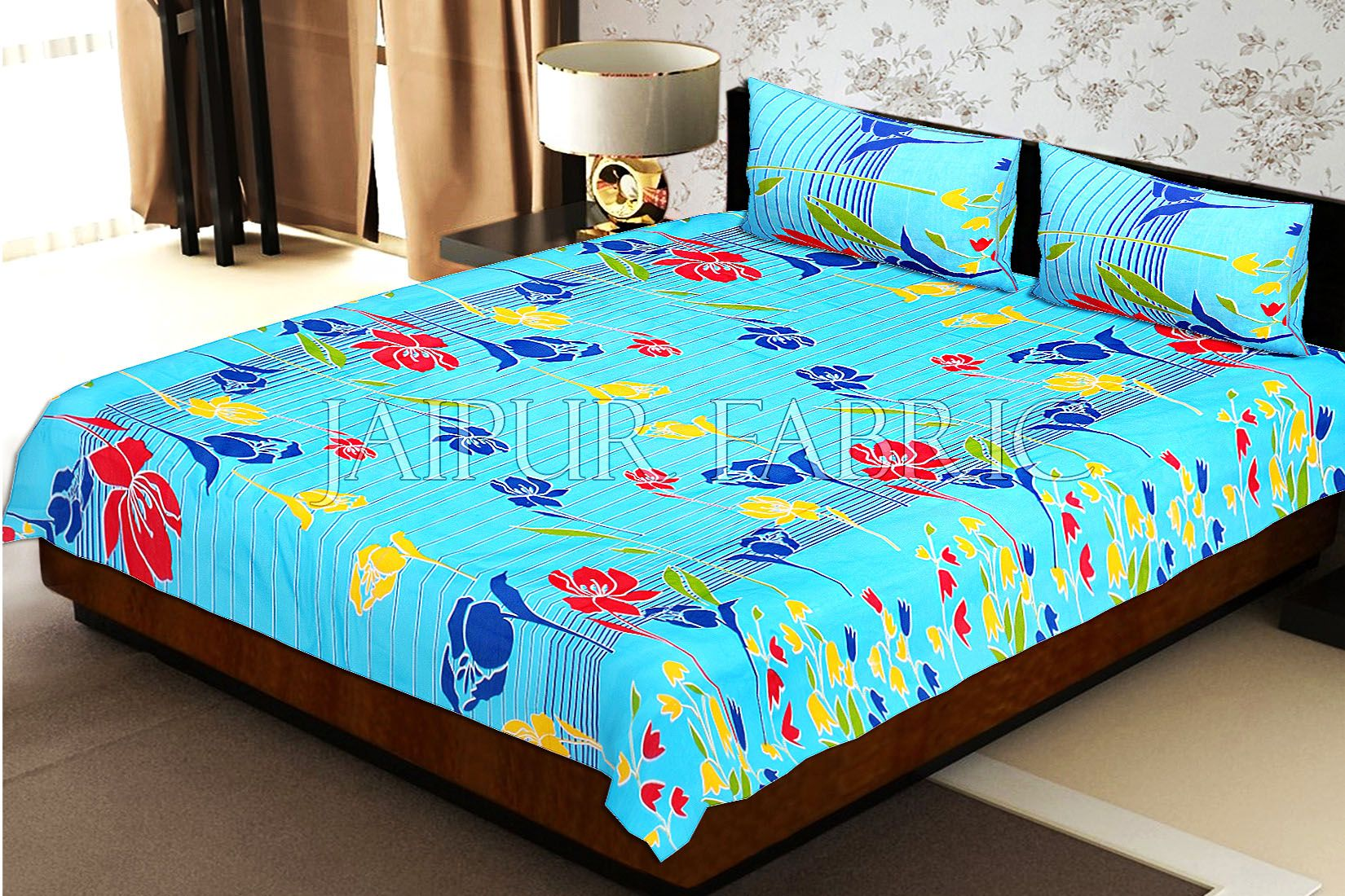 Sky Blue Base Lottos Floral Print Double Bed Sheet
