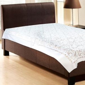 White Base With Gloden hand Block Print Single Cotton Bed Sheet