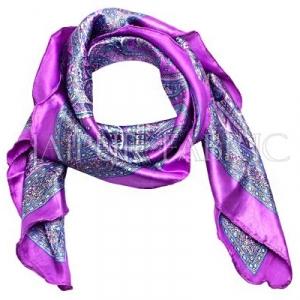 Purple Color Jaipuri Keri Print Silk Scarf