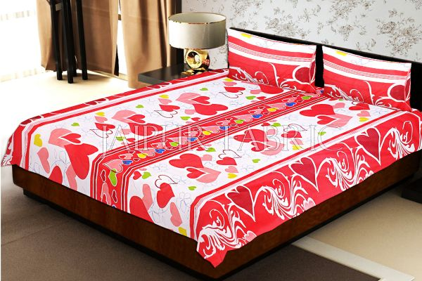 White Base Red Heart Floral Print Double Bed Sheet