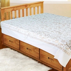 White Base With Gloden Floral hand Block Print Single Cotton Bed Sheet