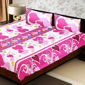 White Base Pink Heart Floral Print Double Bed Sheet