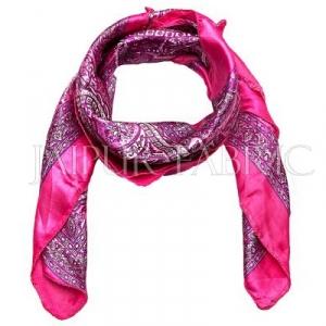Pink Color Jaipuri Keri Print Silk Scarf
