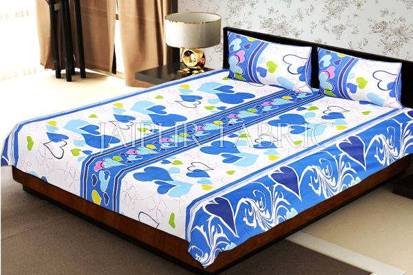White Base Blue Heart Floral Print Double Bed Sheet