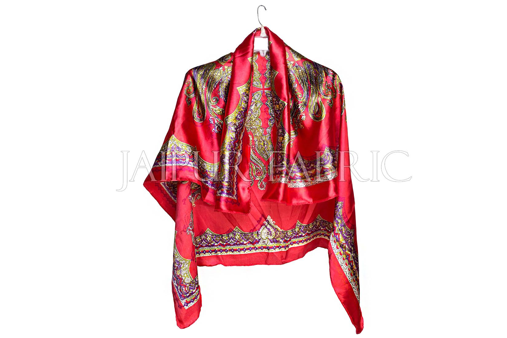 Red Color Jaipuri Keri Print Silk Scarf