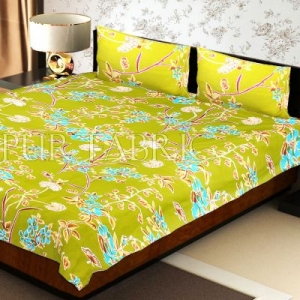 Green Base Tropical Butterfly Design Double Bed Sheet