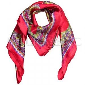 Red Color Jaipuri Keri Print Silk Scarf