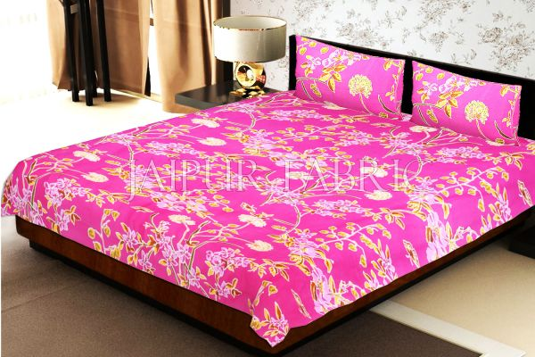 Pink Base Tropical Butterfly Design Double Bed Sheet