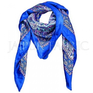 Blue Color Jaipuri Keri Print Silk Scarf