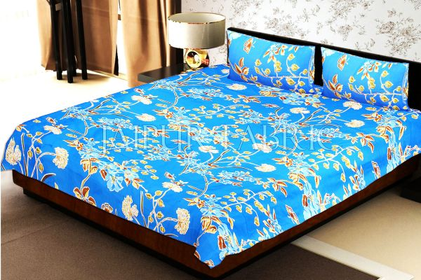 Blue Base Tropical Butterfly Design Double Bed Sheet