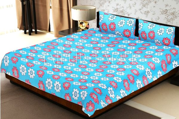 Blue Base Dotted Flower Print Double Bed Sheet