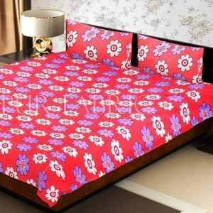 Peach Base Dotted Flower Print Double Bed Sheet