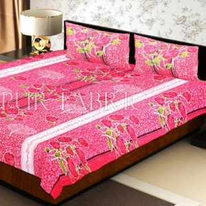 Red Base Flower Print White Border Double Bed Sheet