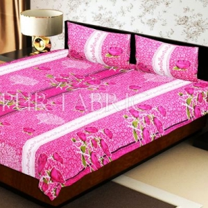 Pink Base Flower Print White Border Double Bed Sheet