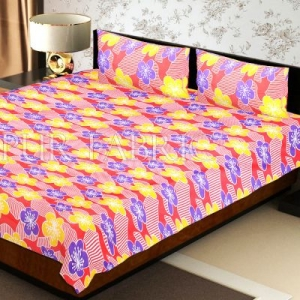 Peach Base Yellow and Purple Flower Double Bed Sheet