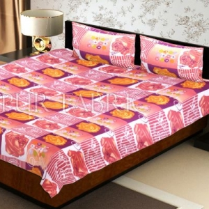 Brown Floral Print Double Bed Sheet