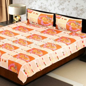 Orange Stripes Floral Print Double Bed Sheet