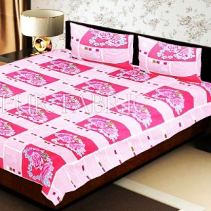 Pink Stripes Floral Print Double Bed Sheet