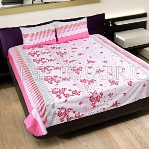 Pink and Black Stripes Floral Print Cotton Double Bed Sheet