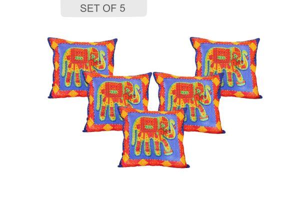 Blue Jaisalmer handmade Embroidery with Thread work Elephant Print Cushion cover