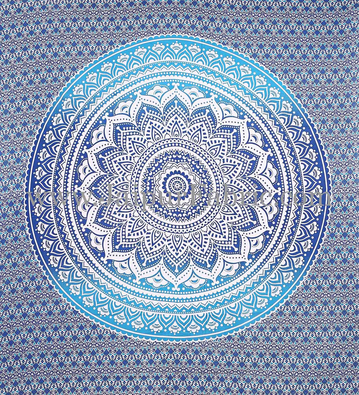 Blue Mandala Tapestry with white hippie indian traditional wall hanging and beach throw
