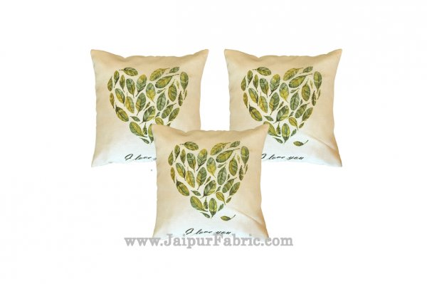 Jute Cushion Cover Digital Leaf Heart