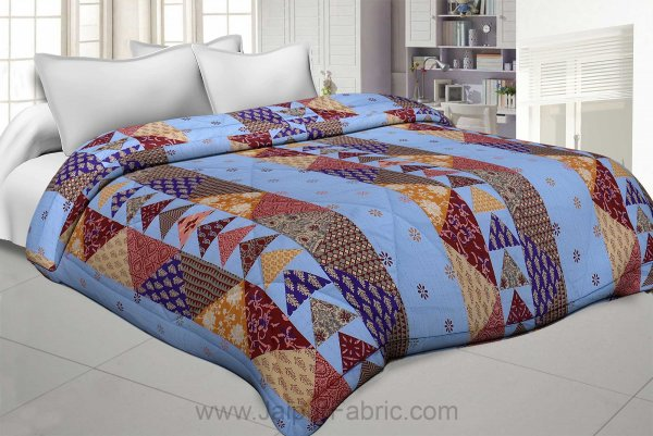 Blues Twill Cotton  Double Bed With Colorful Patchwork Design Comforter