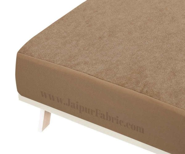 Heavy Quality Brown Terry Cotton Waterproof and Elastic Fitted Through Out Double Mattress Protector
