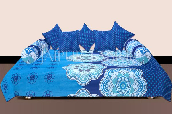 Blue Border Rangoli Print Cotton Diwan Set