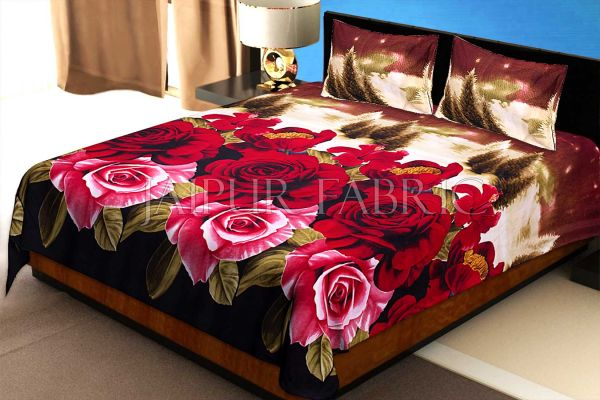 Red Floral Print Cotton Double Bed Sheet