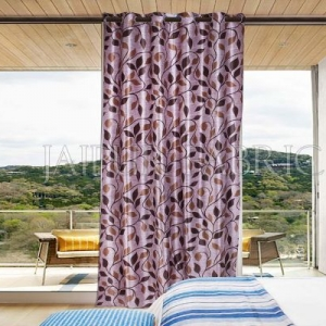 Violate Base Chocolate Color Printed Polyester Curtain