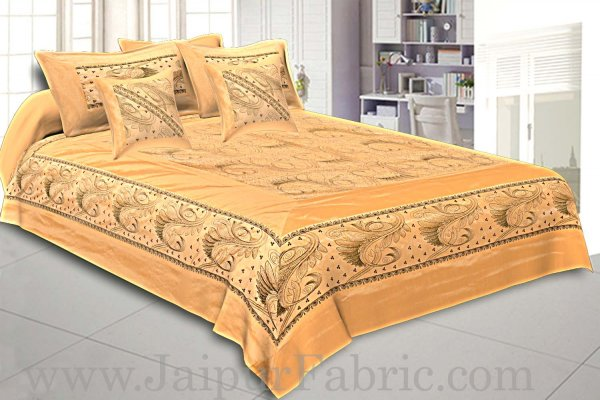 Silk Bed Sheet  Cream Color With Lace Work Superfine bed cover
