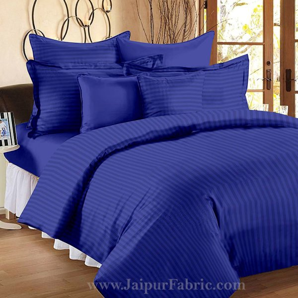 Royal Blue Self Design 300 TC King Size Pure Cotton Satin Slumber Sheet for Double Bed with 2 pillow covers