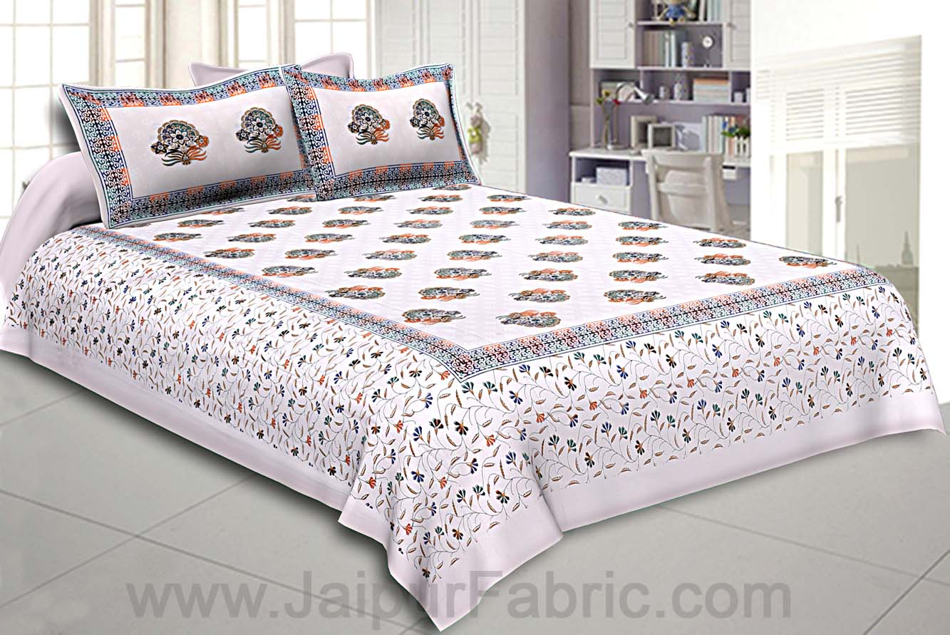 King Size Double Bedsheet White Satrangi Motif