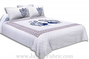 Twill Cotton Double Bedsheet Navy Blue Peacock Pair