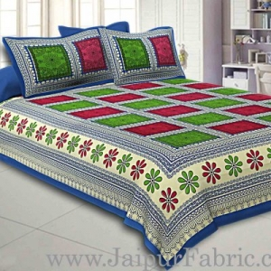 Double bedsheet  Blue Border Multi Checks Pattern Smooth Touch With 2 Pillow Cover