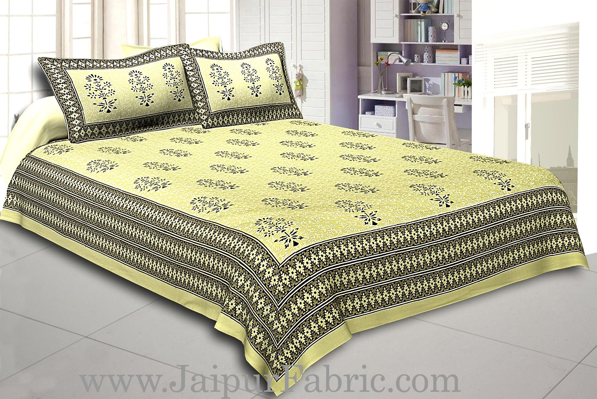 Light Green Base  Black Leaf  Pattern Hand Block Super Fine Cotton Double Bedsheet